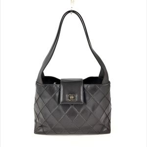 Chanel Vintage Lambskin Diamond Stitched Brown Bag